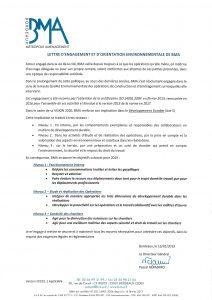 Lettre d'engagement et d'orientation environnementale 2019