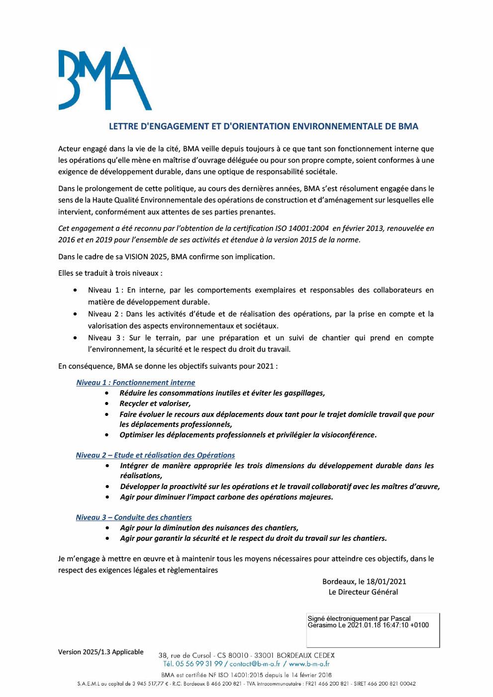 Lettre d'engagement et d'orientation environnementale de BMA